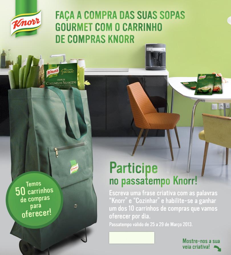 Participe no passatempo Knorr, escreva uma frase criativa com as palavras Knorr e Cozinhar, e habilite-se a ganhar um dos 10 carrinhos de compras que vamos oferecer por dia.